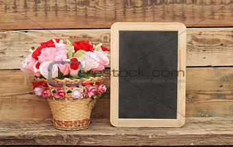 bouquet paper flower in a basket