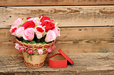 bouquet paper flower in a basket with gift box