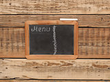 vintage chalkboard menu, free space for your copy, with old wood