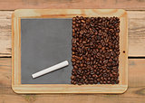 Coffee beans on a blackboard