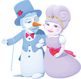 Pair of Valentine cartoon characters snowman and snow maiden walking arm in arm