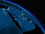 Night over Arabian peninsula