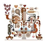 Coffee factory - vector illustration