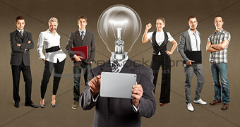 Business Team With Lamp Head