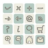 Doodle vector hand drawn icon set. Web tools symbols button collection
