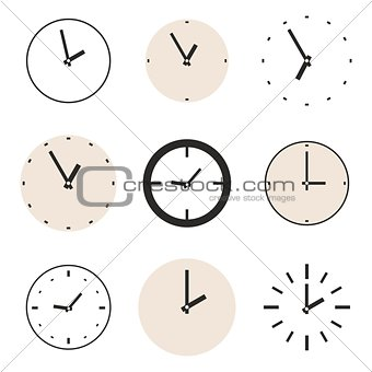 Clock vector icon set isolated on white background