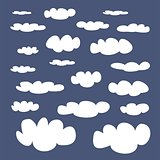 White clouds on dark blue sky background vector set.