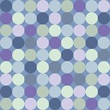Seamless vector pattern or background with big colorful dots on dark navy blue background.