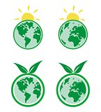 Vector eco icons. World globe isolated on white background. Planet Earth symbol