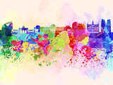 Brussels skyline in watercolor background