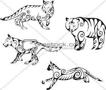 predator animals in tribal style