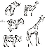 ungulates animals in tribal style