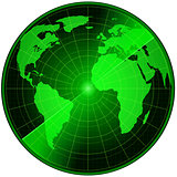 Abstract radar with earth map