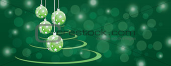 Green bauble balls christmas panoramic background