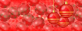 Red Christmas panoramic background with red baubles