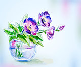 Spring watercolor flowers in vase. Greeting Card.