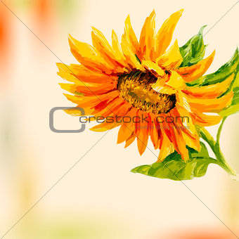 Oil painting. Sunflower. Greeting Card.