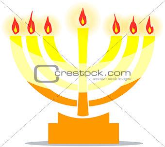 Jewish Lamp Menora With Lights