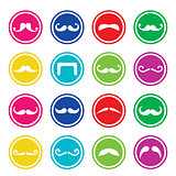 Moustache or mustache round colorful vector icons