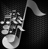 Music Note Background - Metal Grid