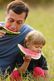 father with a small daughter eating watermelon on the grass