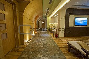 Corridor inside a luxury health spa