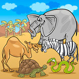 african safari animals cartoon illustration