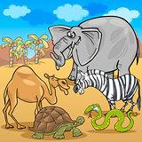 african safari animals cartoon illustration