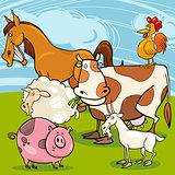farm animals cartoon group