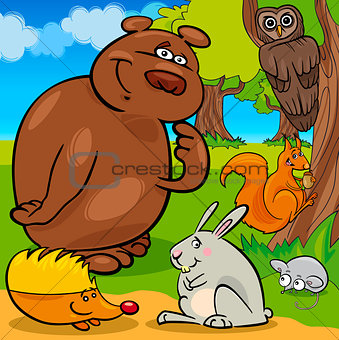 forest wild animals cartoon group