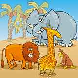 cute african animals cartoon illustration