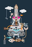 Rocket - abstract vector illustration