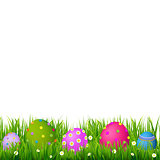 Border With Grass And Eggs Easter Card