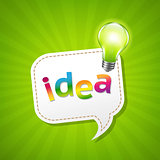 Green Sunburst Poster And Speech Bubble And Lamp