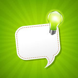 Green Sunburst Poster With Speech Bubble And Lamp