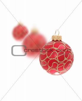 three christmas toy balls