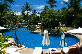 Tropical resort with swimming pool