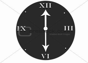 A gray clock with white Roman Numerals