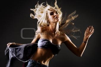 Beautiful dancing blond female