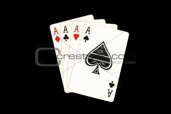 Isoladed Four aces poker hand