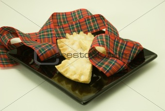 Shortbread on Black Plate with Tartan Ribbon
