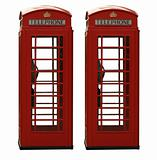 Two classic red British telephone box, isolated on a white backg