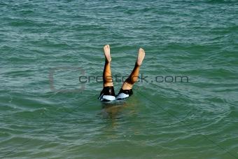 Boy Making A Water Handstand