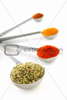 Spices in measuring spoons
