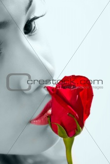 kissing a red rose