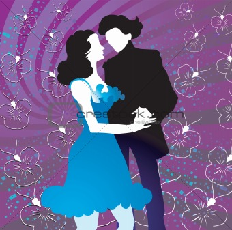 couple dancing in floral background