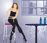 lady sitting alone in a party  with drink in table