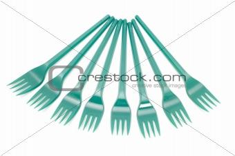 green plastic fork