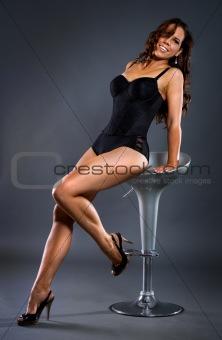 Lingerie model sitting