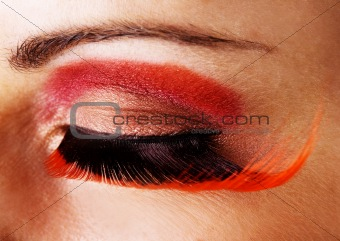 Closeup of an eye with fake eyelashes
